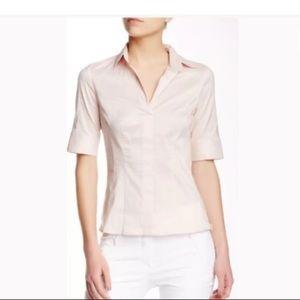 Hugo Boss Bashini Side Zip Poplin Top Pink Sz 12